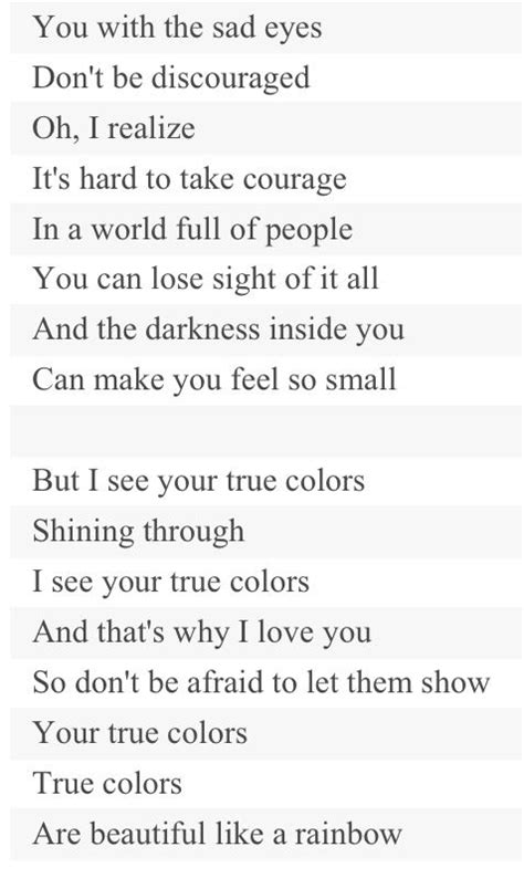 song true colors lyrics true colors true colors glee with lyrics