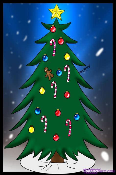 draw  christmas tree step  step christmas