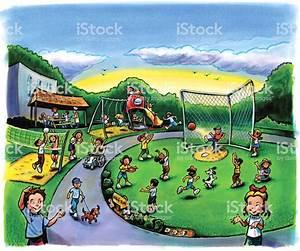 School Playground With Children Stock Vector Art & More ...