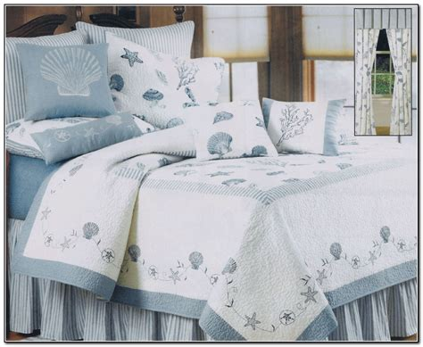 Bedroom Ideas Beach Theme Bedding Using Blue Shade Cotton