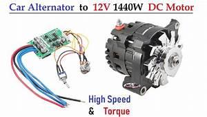 12v 120 Amps Car Alternator Converted To Dc Motor   1500