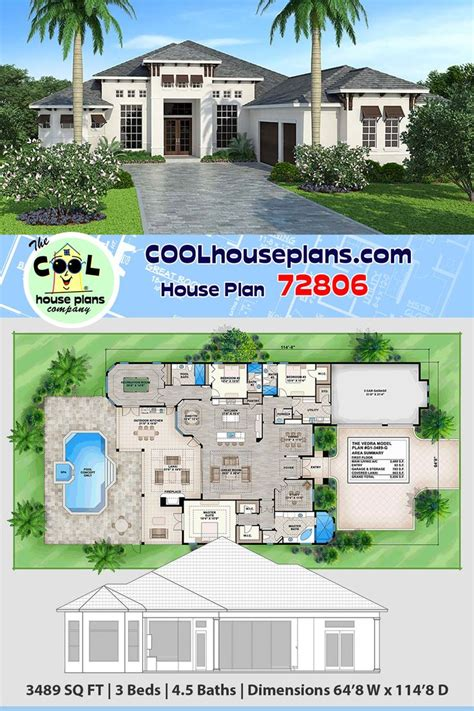 Mediterranean Style House Plan 72806 with 3 Bed 5 Bath 3