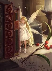 Cute, Fantasy, Anime, Girl, Fairy, Wing, Magic, Book, Blonde, Dress, Wallpapers, Hd, Desktop, And