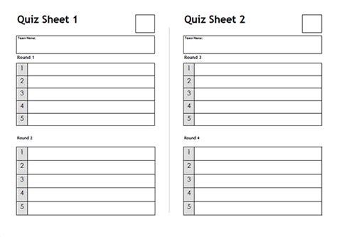 quiz sheets free to download quiz sheet templates quiz