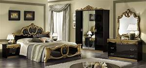Buy Camel Barocco Black and Gold Italian Bedroom Set with