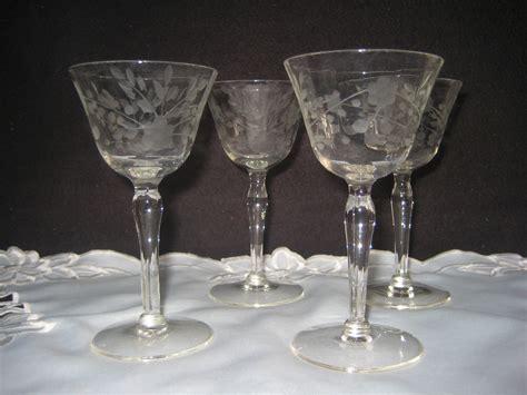 etched barware vintage clear etched cordial glasses vintage