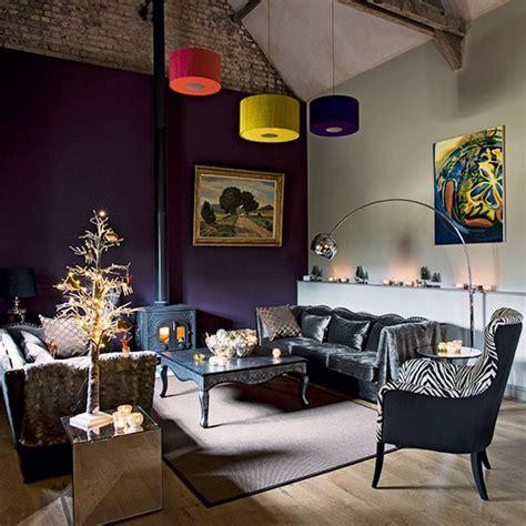 purple living room with grey velvet sofa decorating
