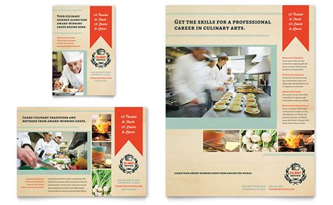 culinary school flyer ad template design