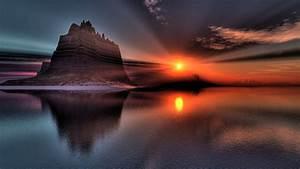 Download Wallpaper 1600x900 Beautiful scenery, sunset ...