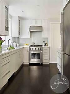 White Kitchen Cabinets Dark hardwood Floors Contemporary