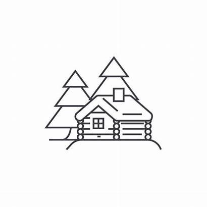 Cabin Log Vector Line Icon Background Illustration