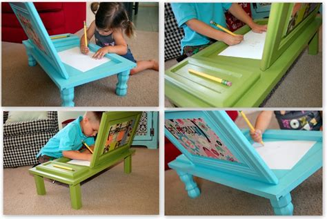 Diy Kids Art Desk From Old Cupboard Door Beesdiycom
