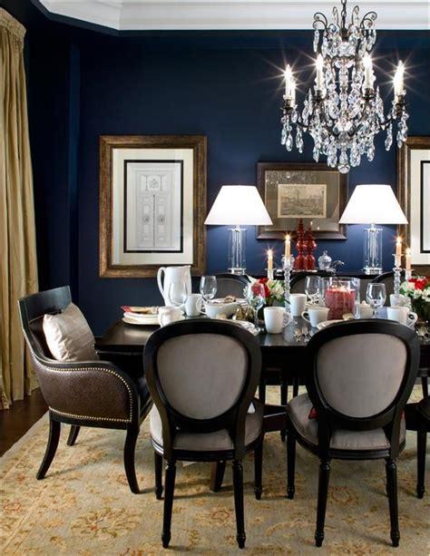 bold dining room decor formal navy dining room