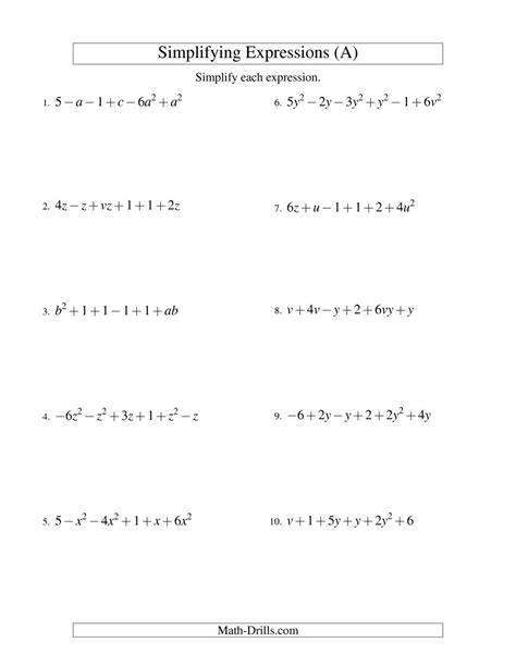 simplifying algebra worksheet and answers simplifying algebraic expressions with two variables and