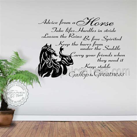 horse wall stickers advice from a horse quote vinyl mural decor decal