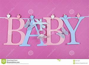 Baby Nursery Pink And Blue Letters Bunting Stock Photo ...