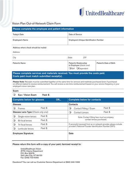united healthcare vision claim form