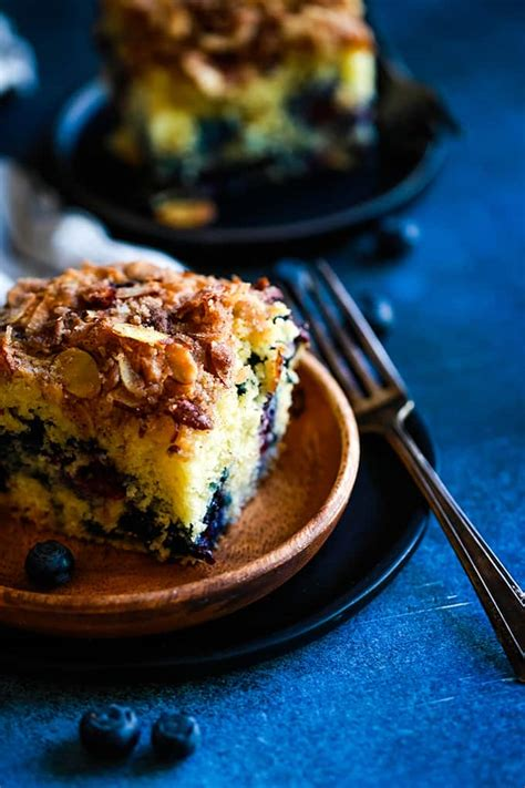 When cake has cooled for 5 minutes, run a blunt knife along edges of pan to free cake; Blueberry Lemon Almond Coffee Cake - Melanie Makes