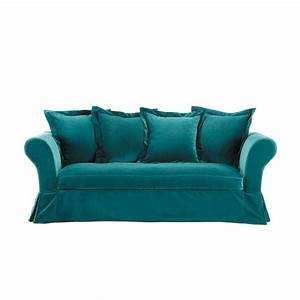 Canape 3 4 places fixe velours bleu velvet maisons du monde for Canapé 3 places pour deco chambre garcon ado