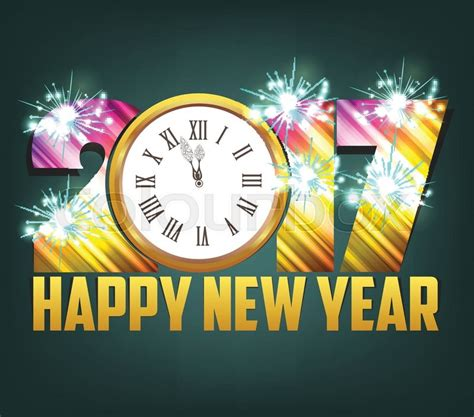 Happy New Year 2017 Background With Gold Clock And