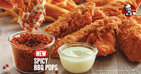 kfc s new has spicy bbq pops that you can dip chicken tenders in great