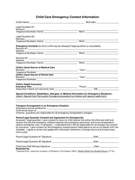 child care emergency contact form fillable