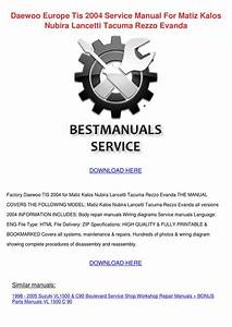 Daewoo Europe Tis 2004 Service Manual For Mat By Shiela
