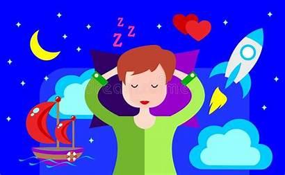 Vivid Dreams Animation Djur Sees Sleeps Vektor