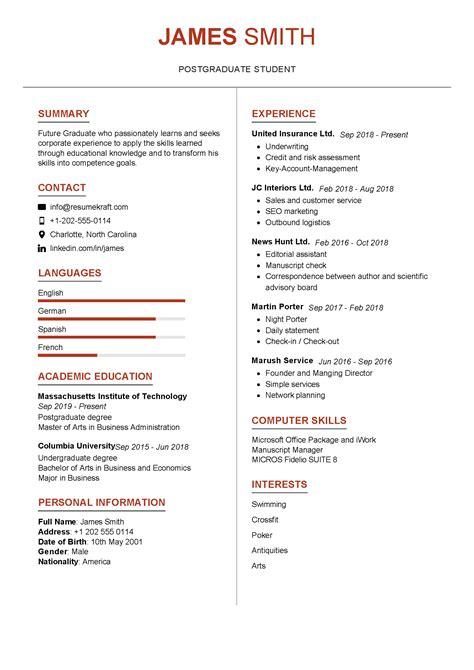 graduate student resume sample resumekraft