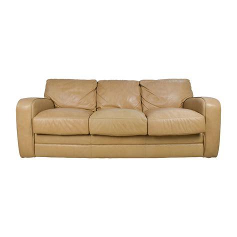 78 Off Beige Three Seat Leather Sofa Sofas