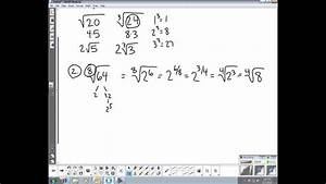 Mstc Algebra 2  Section 8 3 - Simple Radical Form
