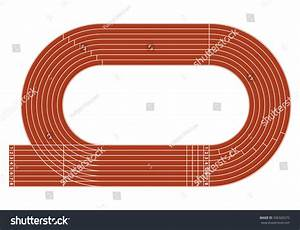 Running Track On Stadium With Lane And Numbers  Stock
