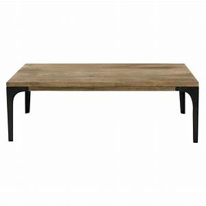 solid mango wood and metal coffee table w 110cm metropolis With solid wood and metal coffee table