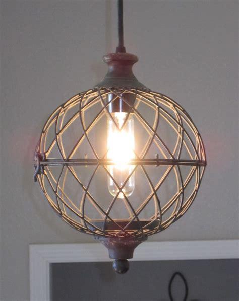 rustic small metal globe pendant light distressed