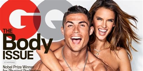 alessandra ambrosio cozies up to cristiano ronaldo on the cover of gq