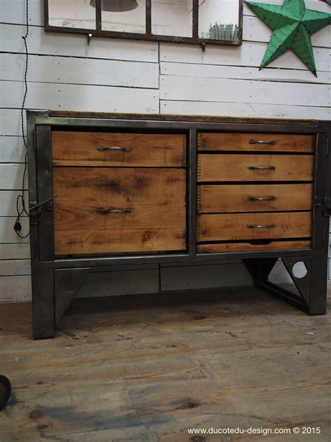 mobilier bureau industriel etabli industriel bureau bois metal
