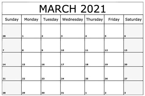 Free Printable March 2021 Calendar Templates - Download Now