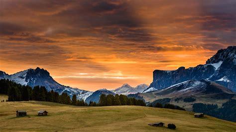 hd background snow mountain sunset red grass sky wallpaper