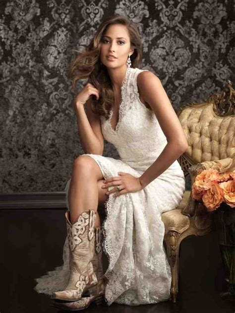 western wedding dresses  boots lace wedding dress