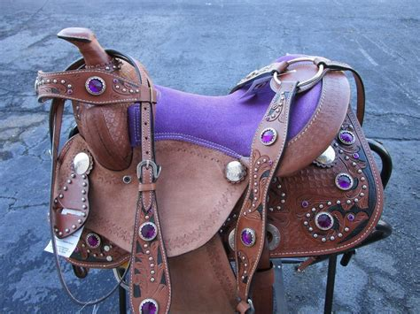 saddle horse western purple leather youth tooled pony stone floral equestrian saddles bonanza dreamworld