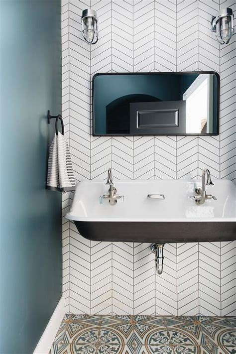 White Herringbone Tiles With Black Grout Design Ideas