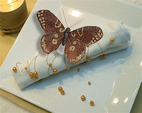 papillons pailletes pince decoration table mariage theme
