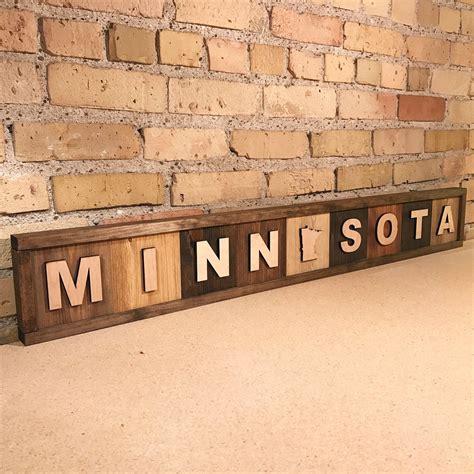 wood minnesota sign minnesota themed minnesota home
