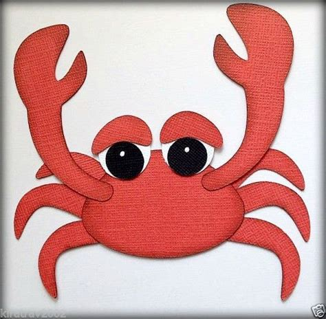 premade sea crab animal paper piecing by my tear bears scrapbook critters sea crab