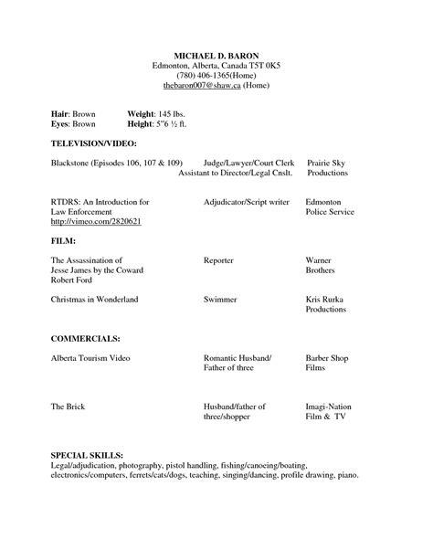 modeling resume template beginners beginner acting resume sample beginner acting resume