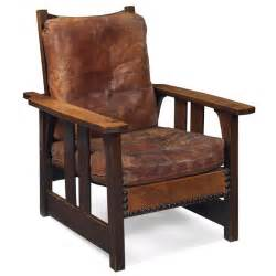 gustav stickley morris chair 2341 flat arm form with original leather seat and back cushions