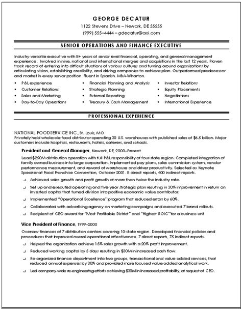 resume sles for finance executives executive resume sles slim image