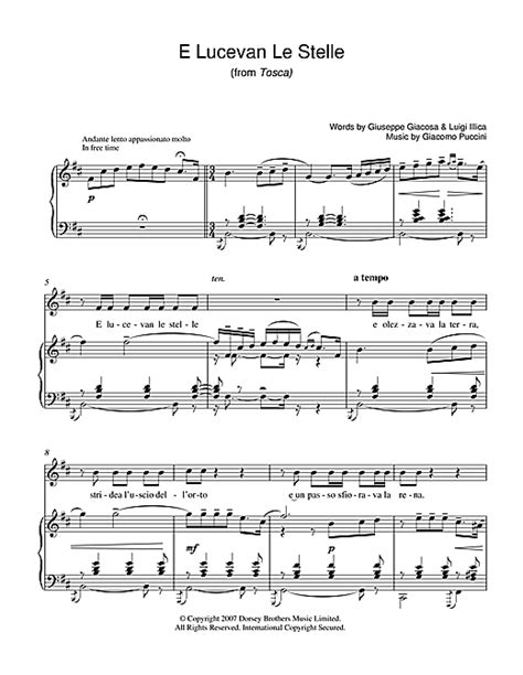 e lucevan le stelle from tosca sheet by luciano pavarotti piano vocal guitar 39229
