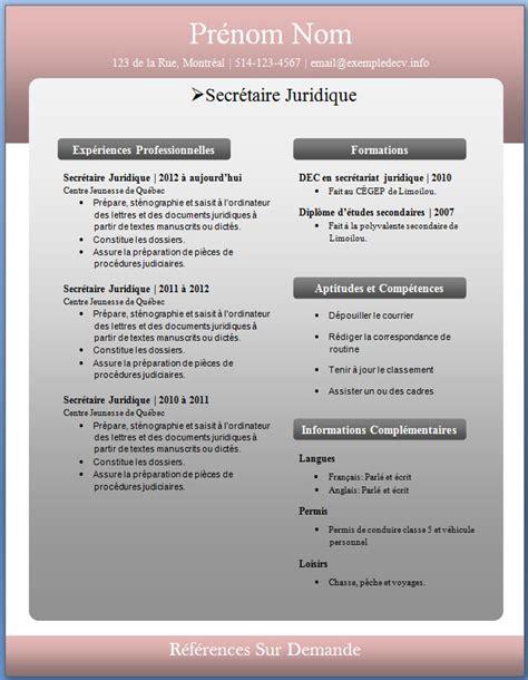 Meilleur Cv Gratuit by Mod 232 Les Et Exemples De Cv 226 224 232 Exemple De Cv Info