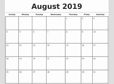 2019 Monthly Calendar Template printable calendar yearly